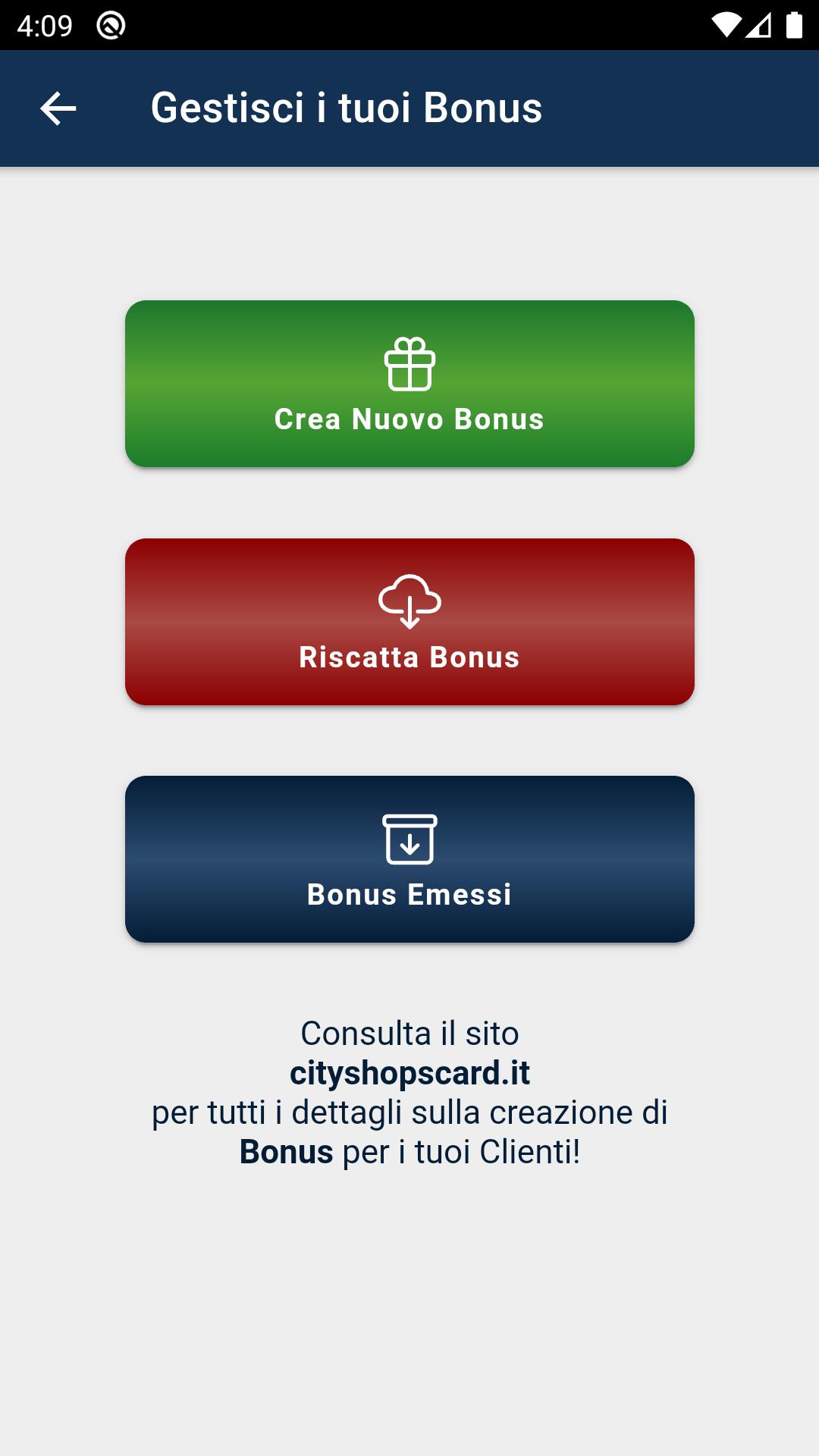 Premi sul tasto Crea Bonus per creare un nuovo Buono Sconto