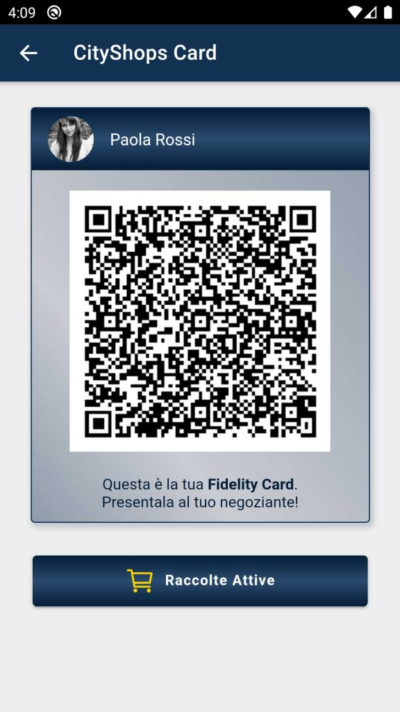 Fidelity Card virtuale del cliente presente all'interno dell'applicazione CityShops Card